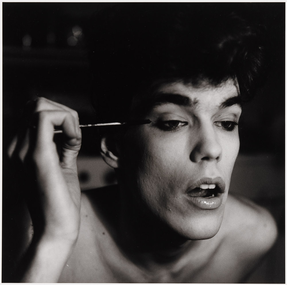 """David Brintzenhofe Applying Makeup (II)"", 1982, Peter Hujar, © 1987 The Peter Hujar Archive LLC; Courtesy Pace/MacGill Gallery, New York and Fraenkel Gallery, San Francisco."