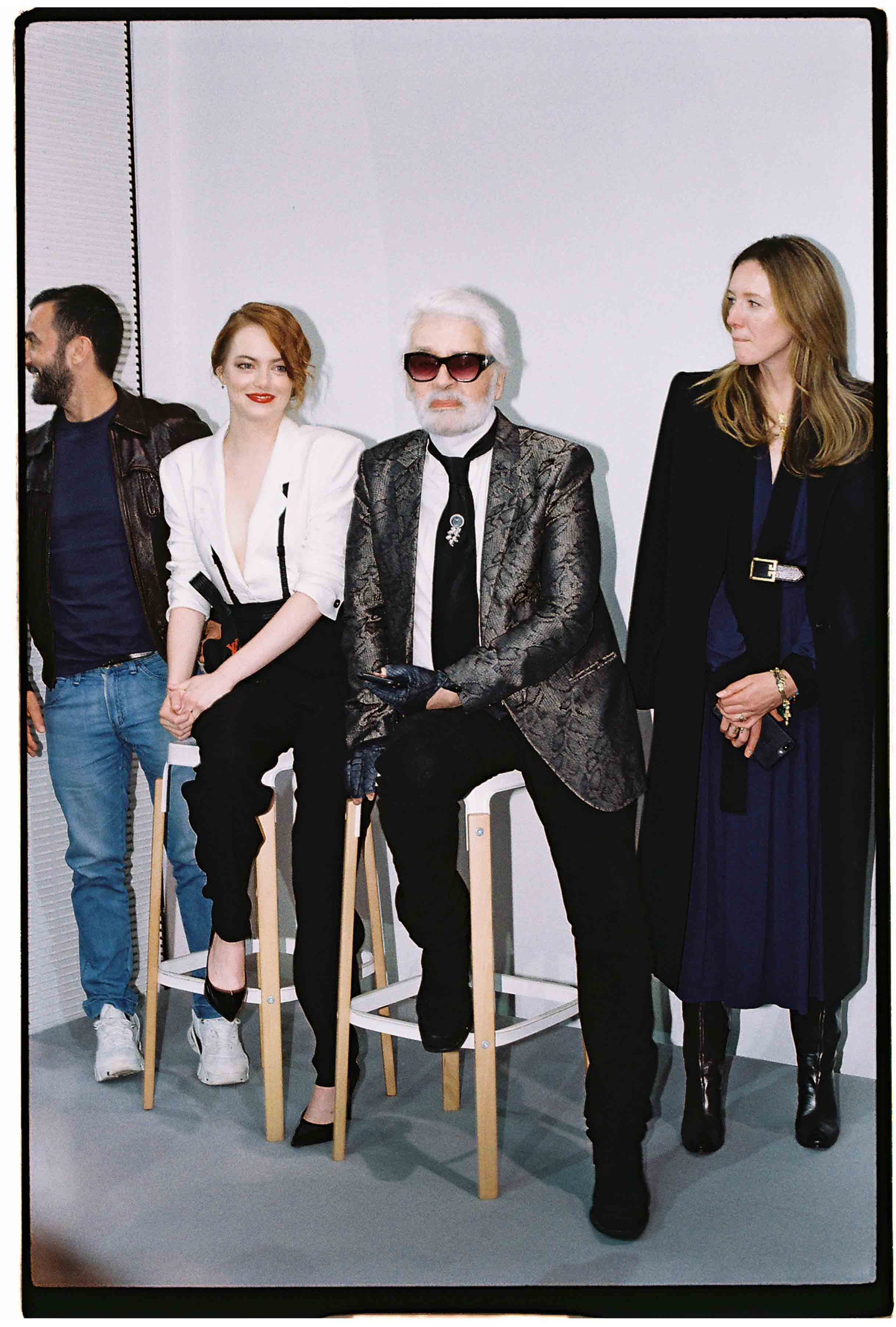 Nicolas Ghesquière, Emma Stone, Karl Lagerfeld et Clare Waight Keller
