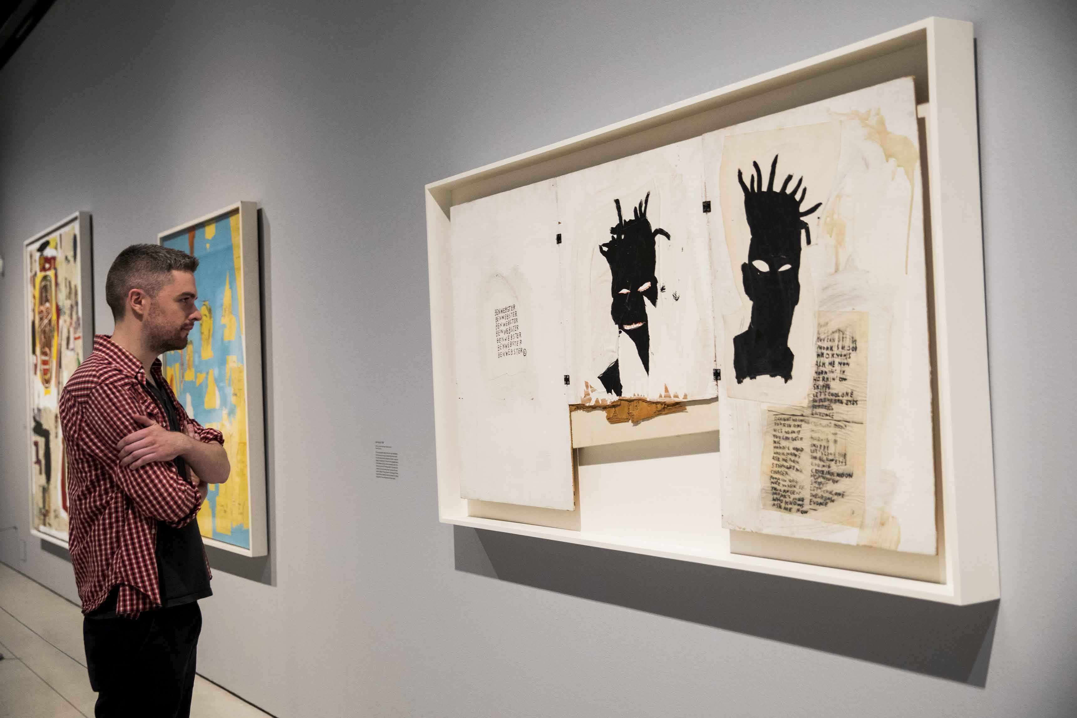 Basquiat: Boom For Real Installation view Barbican Art Gallery 21 September 2017 – 28 January 2018 © Tristan Fewings / Getty Images Artwork: Jean-Michel Basquiat Self-Portrait, 1983, Private collection. © The Estate of Jean-Michel Basquiat. Licensed by Artestar, New York