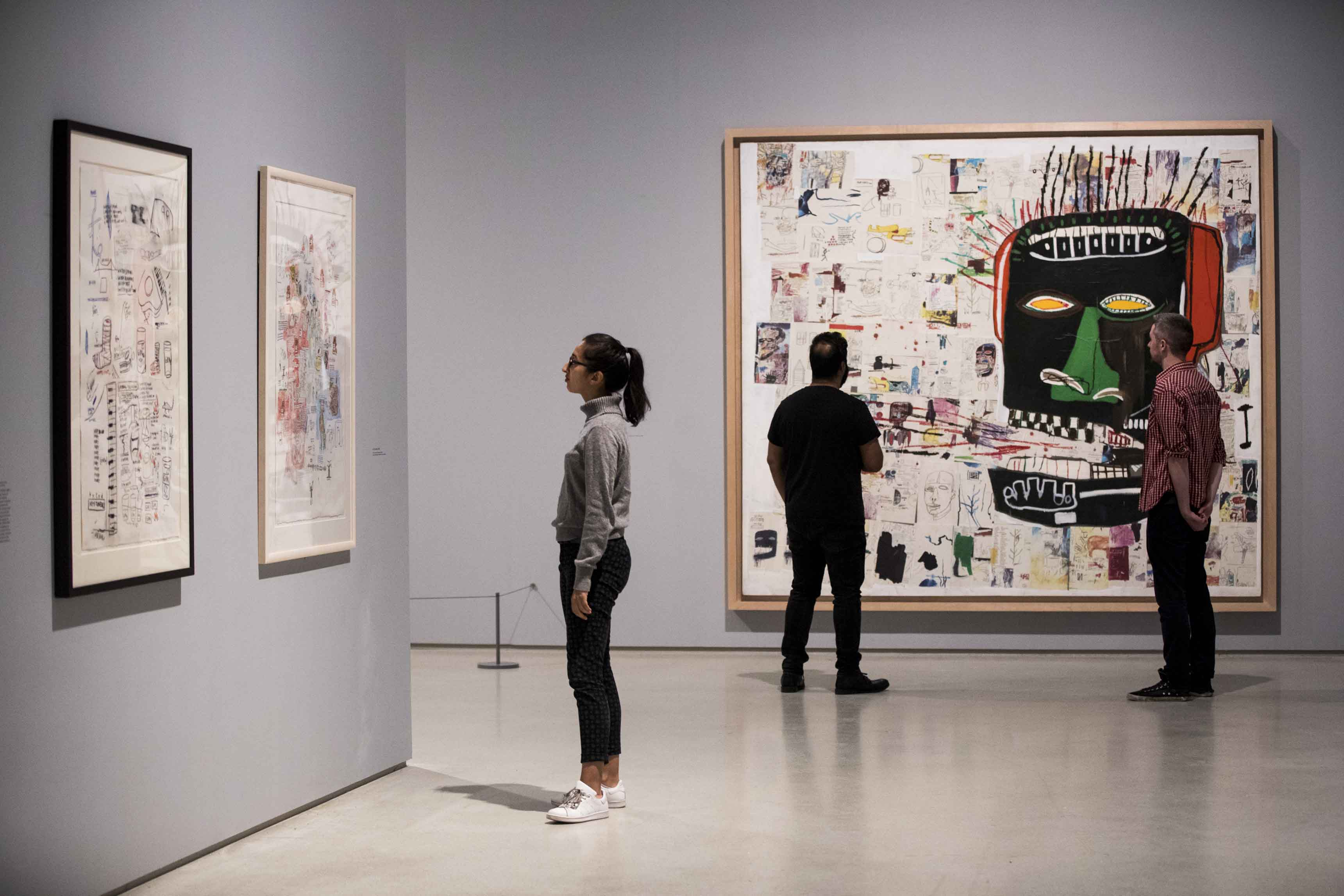 Basquiat: Boom For Real Installation view Barbican Art Gallery 21 September 2017 – 28 January 2018 © Tristan Fewings / Getty Images Artworks: Jean-Michel Basquiat Glenn, 1984, Private collection. © The Estate of Jean-Michel Basquiat. Licensed by Artestar, New York.