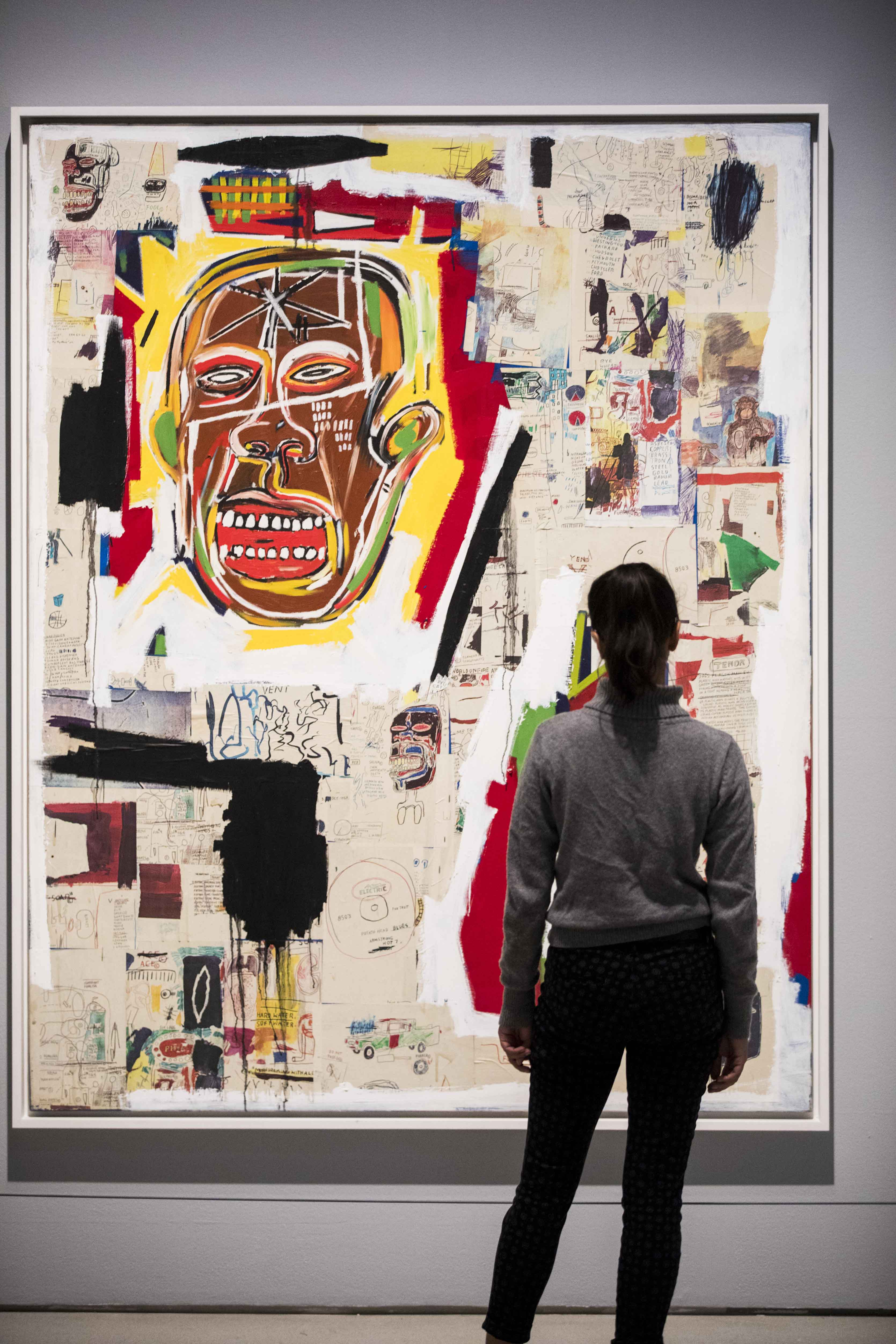 Basquiat: Boom For Real Installation view Barbican Art Gallery 21 September 2017 – 28 January 2018 © Tristan Fewings / Getty Images Artwork: Jean-Michel Basquiat King of the Zulus, 1984-85 © The Estate of Jean-Michel Basquiat. Licensed by Artestar, New York