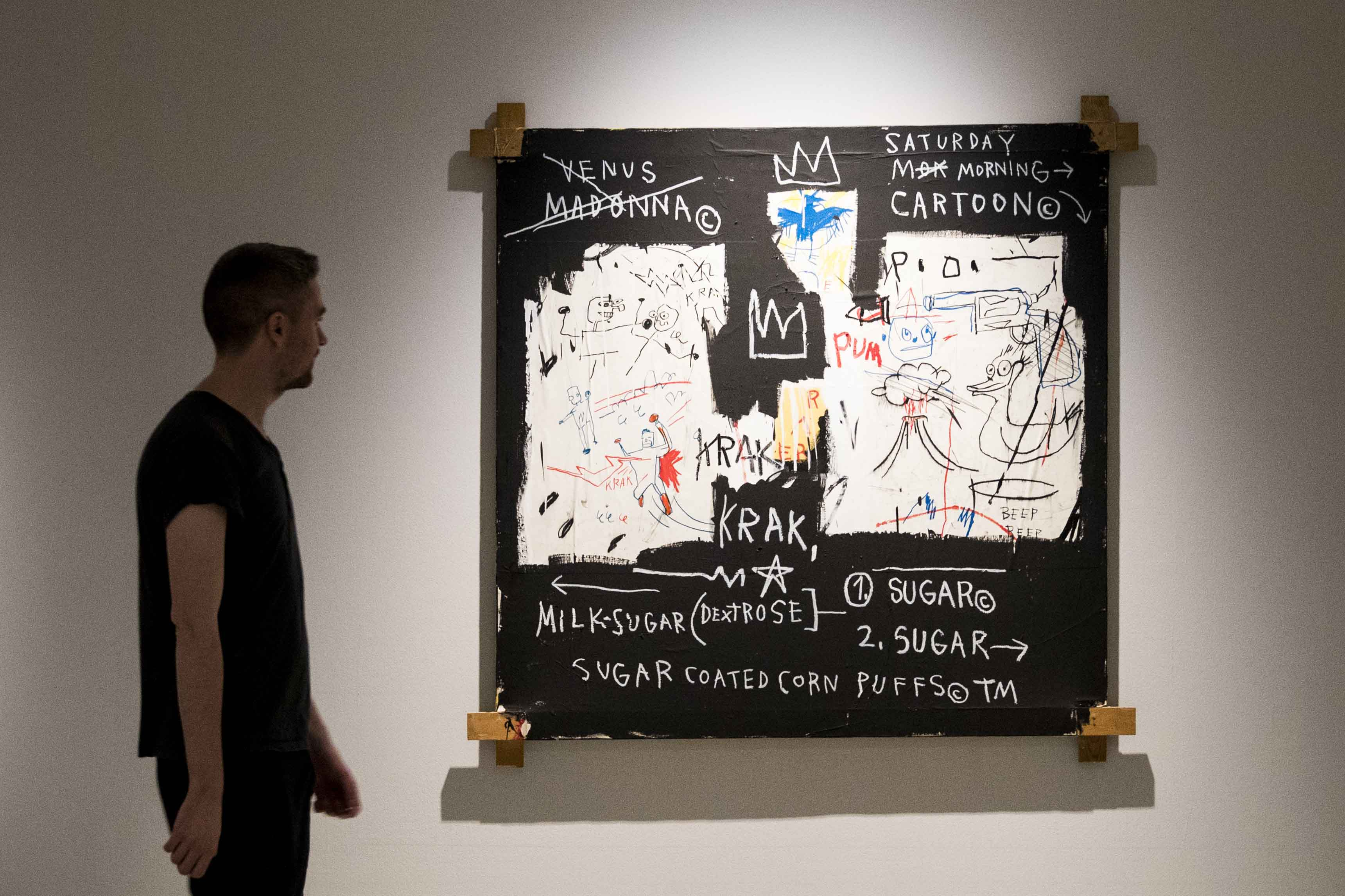 Basquiat: Boom For Real Installation view Barbican Art Gallery 21 September 2017 – 28 January 2018 © Tristan Fewings / Getty Images Artwork: Jean-Michel Basquiat A Panel of Experts, 1982 Courtesy The Montreal Museum of Fine Arts. © The Estate of Jean-Michel Basquiat. Licensed by Artestar, New York.