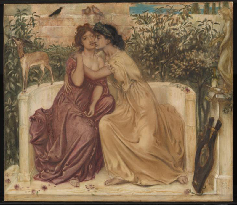 """Sappho and Erinna in a garden at Mytilene"" Simeon Solomon (1864). Crédit : Tate Britain"