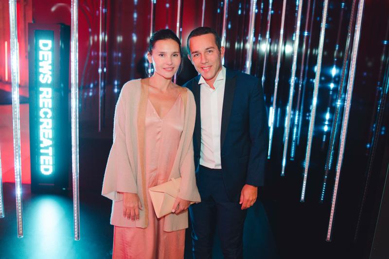 Virginie Ledoyen et Frédéric Charpentier, directeur de la communication de Shiseido