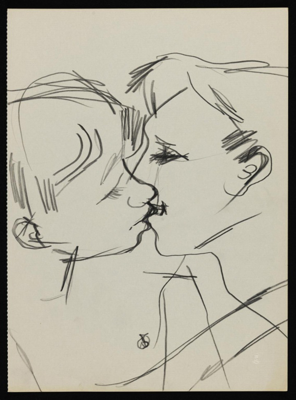 Drawing of two men kissing Keith Vaughan (1958). Tate Archive crédit : DACS, The Estate of Keith Vaughan
