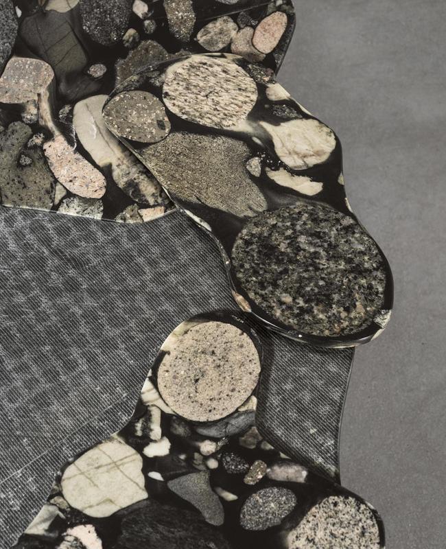 Close up du marbre et fibre de verre noir recyclé