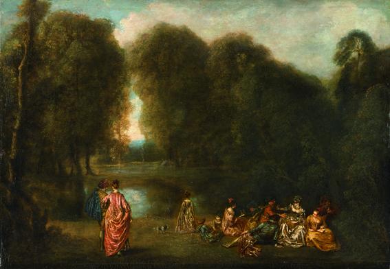 """Jean-Antoine Watteau, """"Assemblée dans un parc"""", 1716, huile sur bois 32,5 x 46,5 cm Paris, Musée du Louvre, département des peintures, legs Louis La Caze, 1869 © Rmn-Grand Palais (musée du Louvre) / Photo Stéphane Maréchalle"""