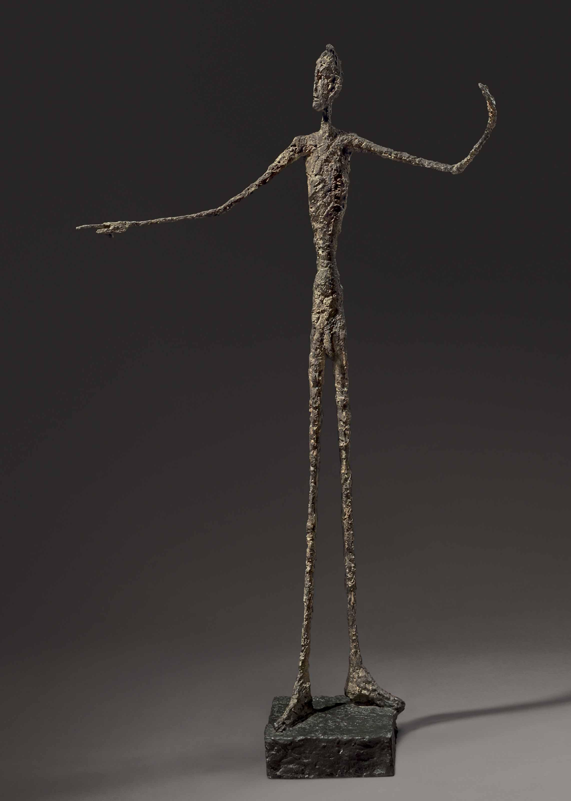 """7) """"L'homme au doigt"""" (1947) d'Alberto Giacometti, adjugé 141,285 millions de dollars chez Christie's à New York en mai 2015."""