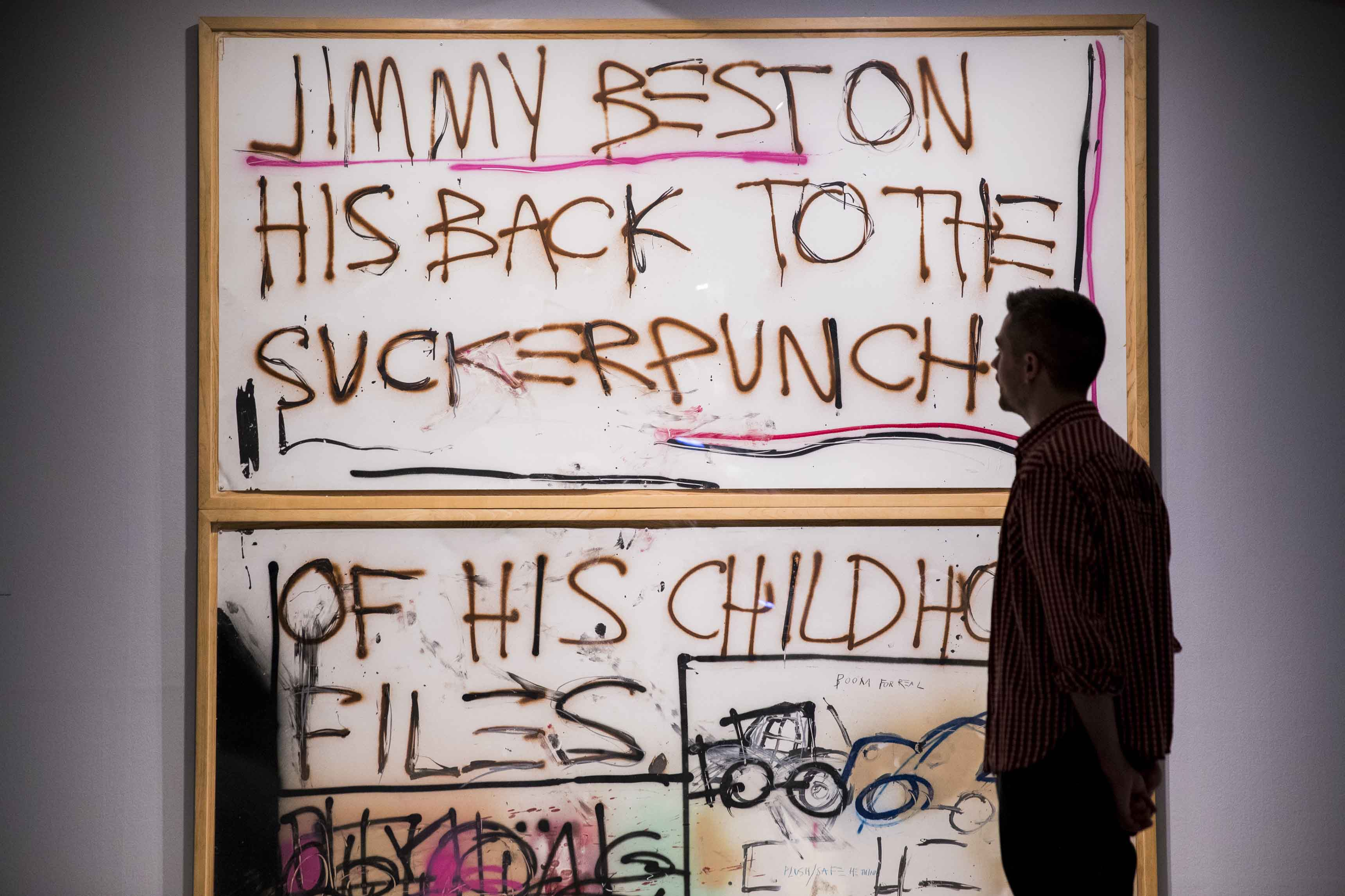 Basquiat: Boom For Real Installation view Barbican Art Gallery 21 September 2017 – 28 January 2018 © Tristan Fewings / Getty Images Artwork: Jean-Michel Basquiat, Jimmy Best, 1981 © The Estate of Jean-Michel Basquiat. Licensed by Artestar, New York