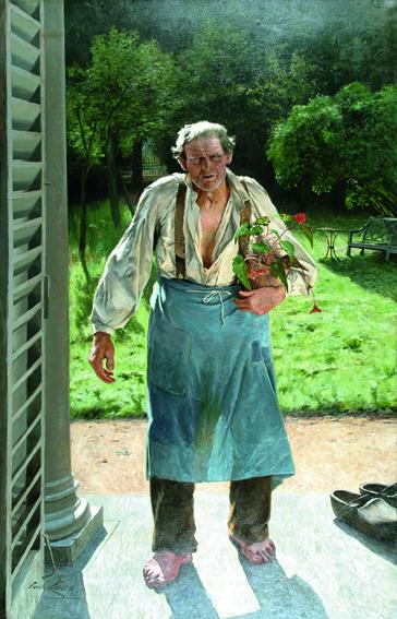 """Emile Claus """"Le Vieux jardinier"""", 1885, huile sur toile ; 216 x 140 cm Belgique, Liège, Musée des Beaux-Arts / La Boverie © Liège, Musée des Beaux-Arts / La Boverie"""