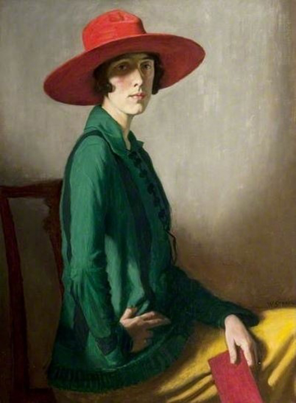 """Lady with a red hat"" William Strang (1918). Lent by Glasgow Life (Glasgow Museums) on behalf of Glasgow City Council. Purchased 1919."