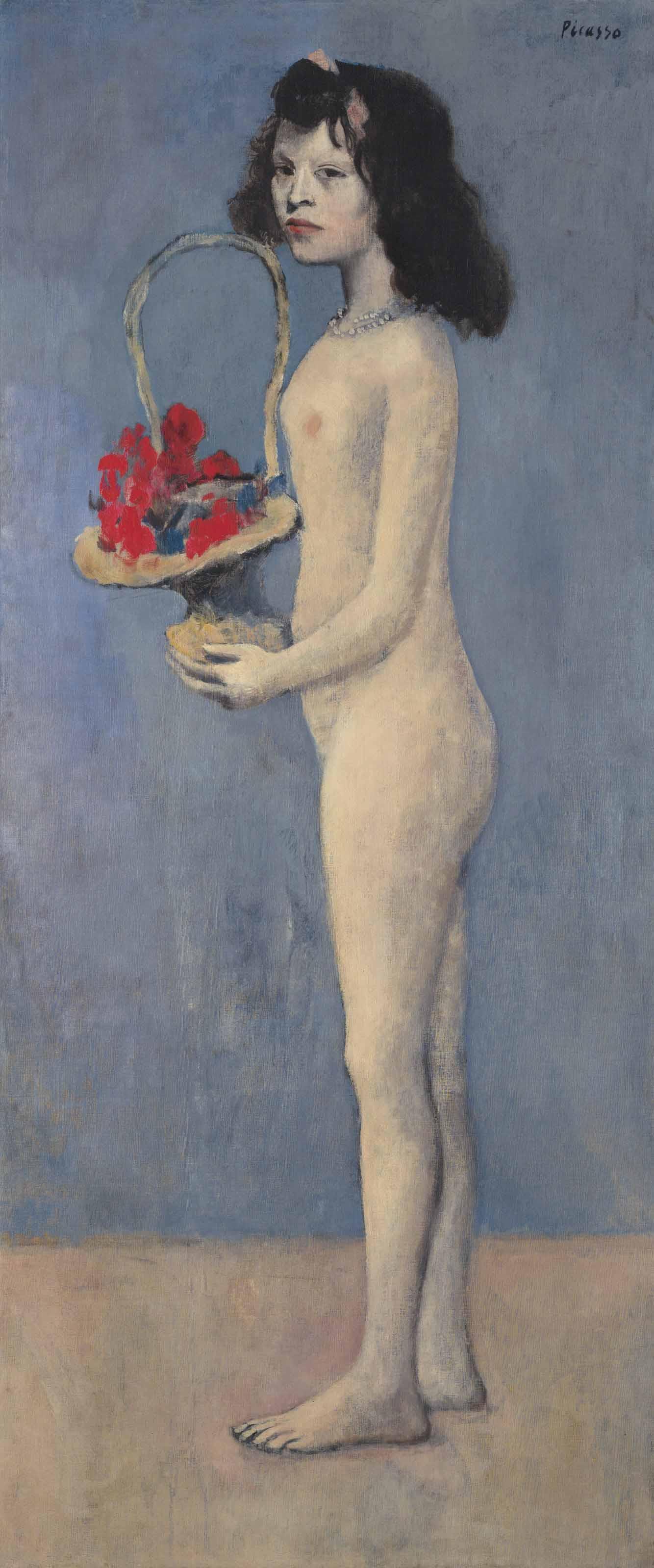 """8) """"La fillette à la corbeille fleurie"""" (1905) de Pablo Picasso, adjugé 115 millions de dollars chez Christie's à New York en mai 2018. (Mise à jour faite le 15 mai 2018)."""