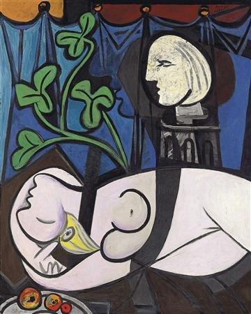 """10) """"Nu au plateau de sculpteur"""" (ou """"Nu, feuilles vertes et buste"""") (1932) de Pablo Picasso, vendu 106,4 millions de dollars en mai 2010 chez Christie's à New York."""