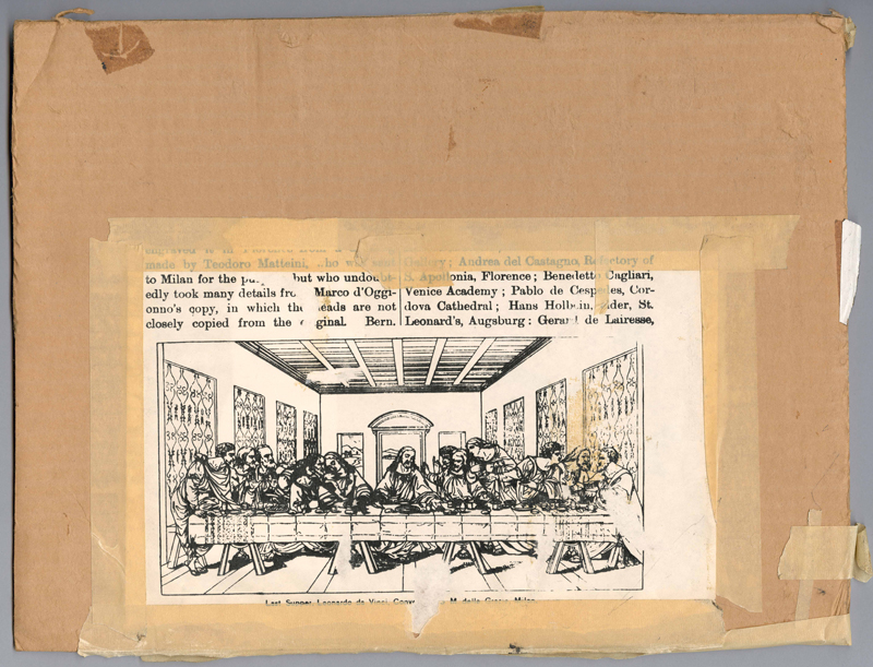 Andy Warhol Source Material for Andy Warhol's Last Supper, 1980s Printed ink on paper and masking tape on cardboard  (29.8 × 39.4 cm) The Andy Warhol Museum, Pittsburgh; Contribution The Andy Warhol Foundation for the Visual Arts, Inc.