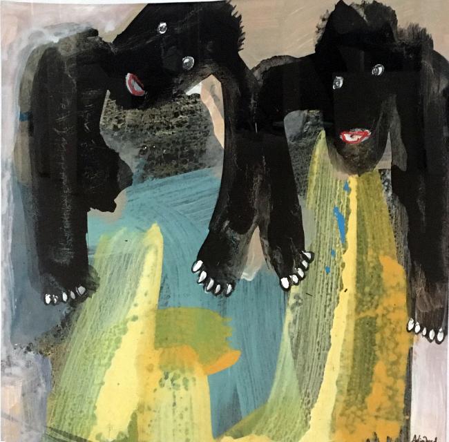 """Adjaratou Ouedraogo, """"Jumeaux"""", 2018, acrylique, pigments, pastels sur papier, 47x47 cm (encadré). Galerie Anne de Villepoix, Paris"""