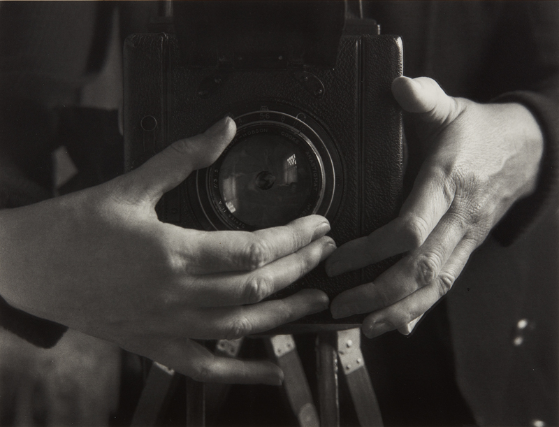 "Alma Lavenson ""Self Portrait"" 1932 Gelatin silver print, printed later. 9 x 11 3/4 in. (22.9 x 29.8 cm)"