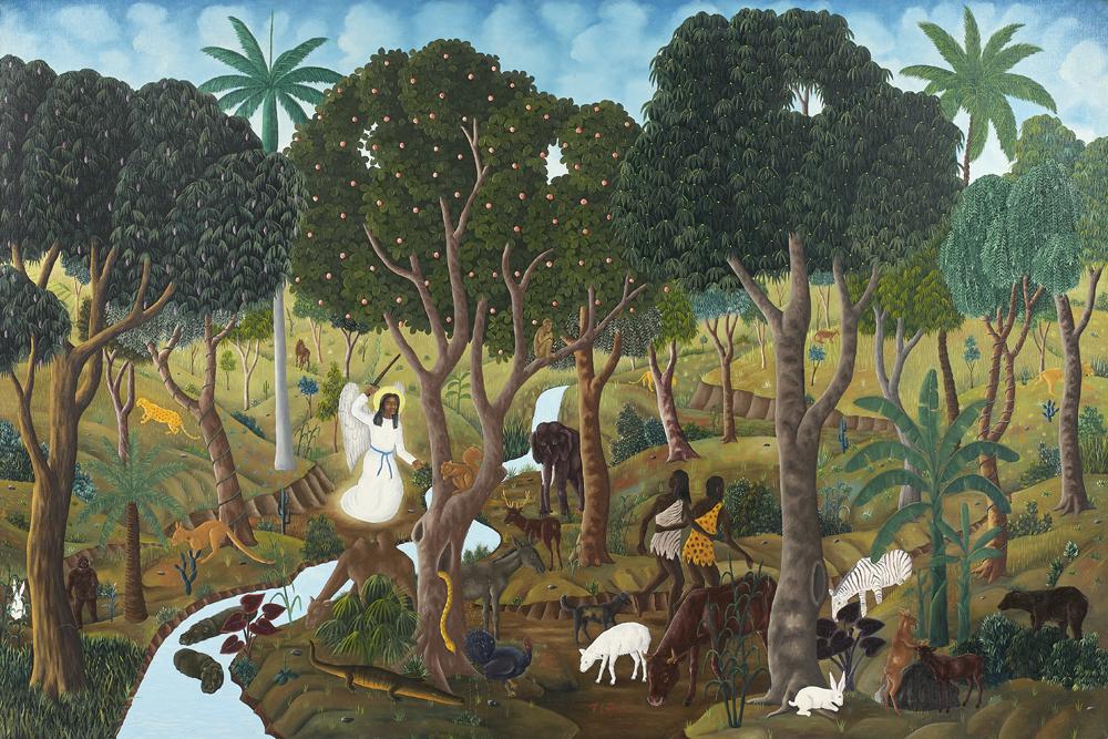 Franklin Latortue, Adam et Eve chasses du paradis, Huile sur toile, 1975 © Artcurial.