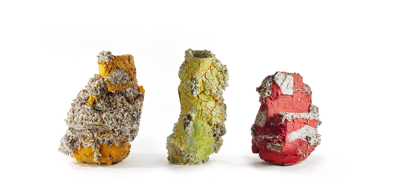 "Aneta Regel, United Kingdom ""Raining Stones"", granite, quartz, basalt, feldspar, porcelain, crank, slip, glaze, dimensions variable (2017)"