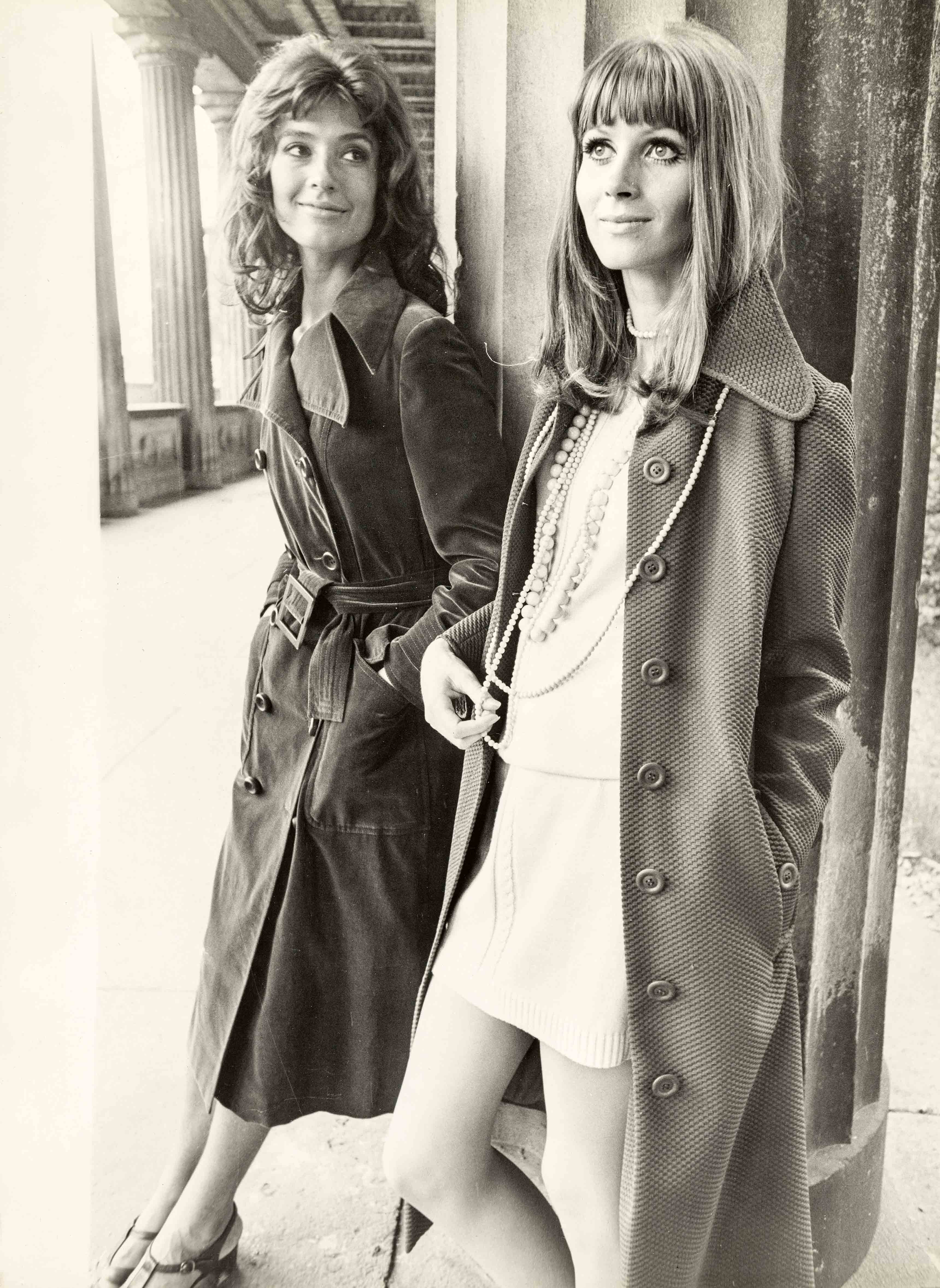 Short knee covering dresses with fitting coats | vintage print |15,4 x 11,4 in | models: German Fashion Institute | 'Sibylle', issue 6, 1971  Galerie Berinson, Berlin