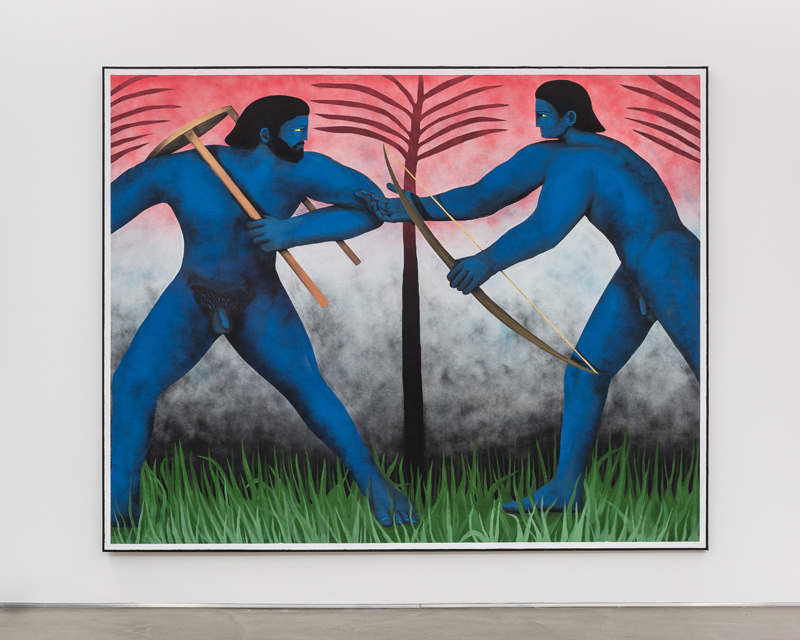 "Vojtěch Kovařík, ""Fight between Hercules and Apollo for the Tripod"" (2020). Acrylic on canvas, 250x200cm. Galerie Derouillon® Gregory Copitet"