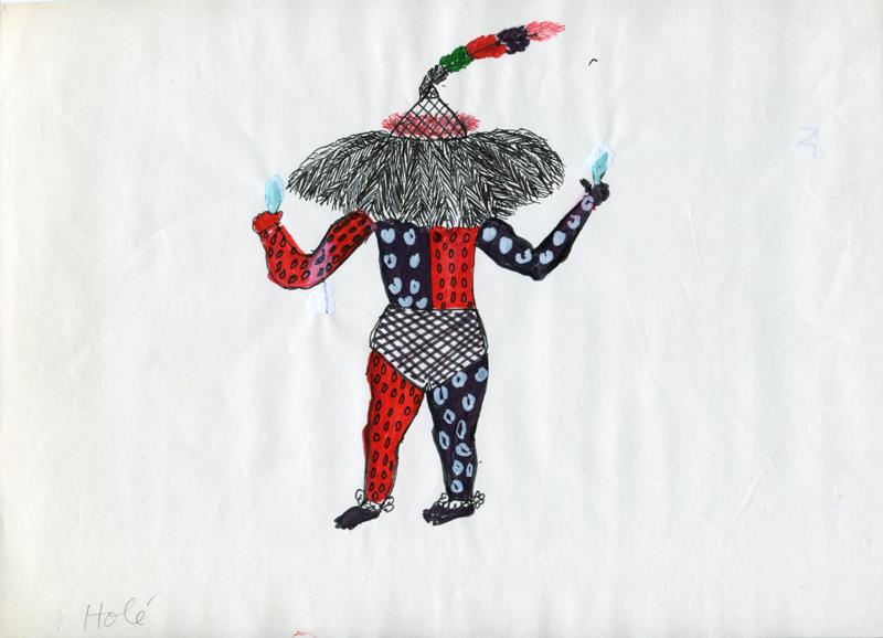 Bruno Barrás, Le Dieu Holé, 1988-1990 Issu d'une série de dessins représentant le panthéon Ishir Feutre et tempera sur papier et carton 22 × 31 cm environ Collection Museo del Barro, Asunción Photos © Departamento del Documentación e Investigaciones del CAV/Museo del Barro