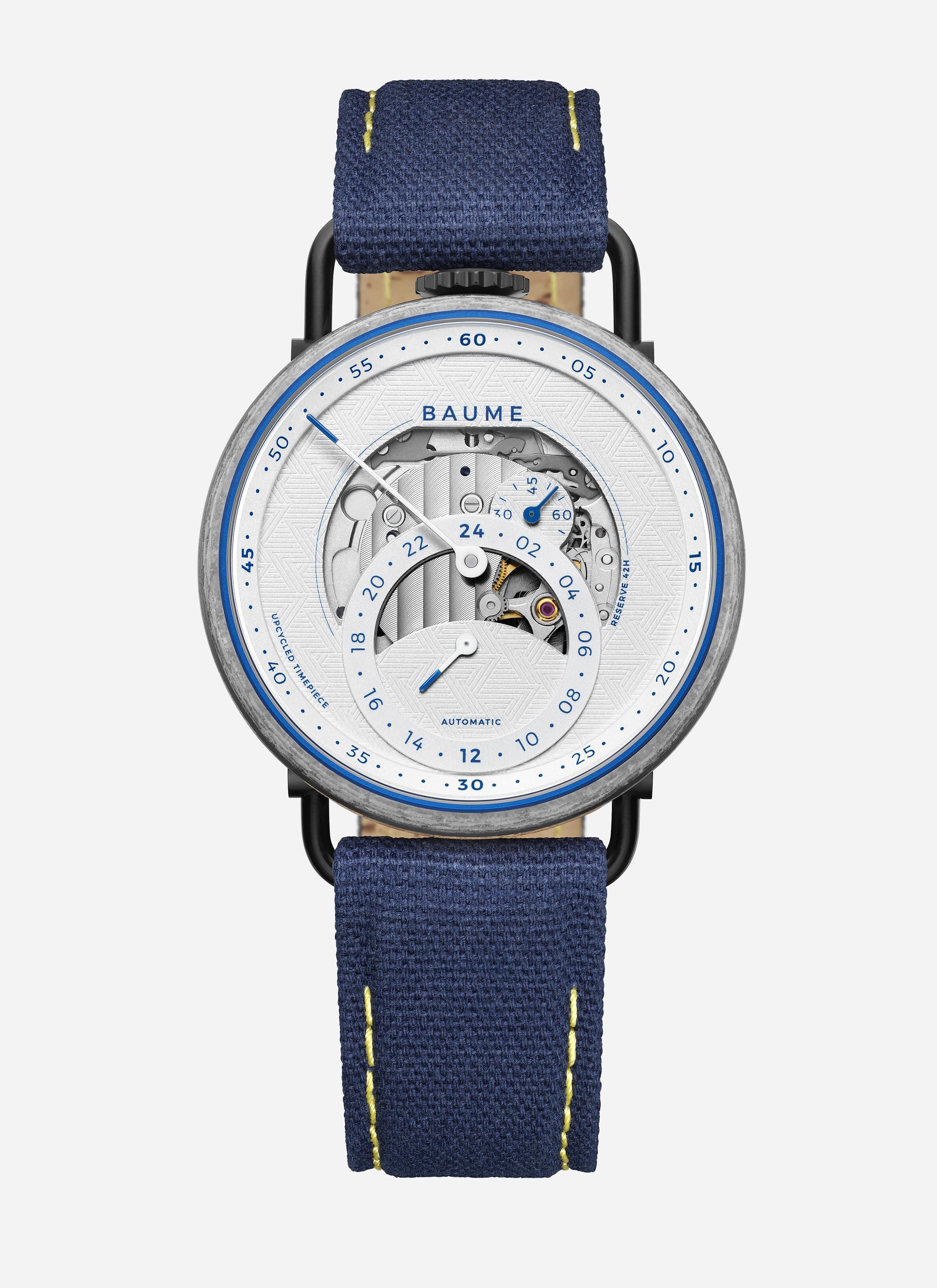 La montre Baume x Zag limited edition, modèle bleu.