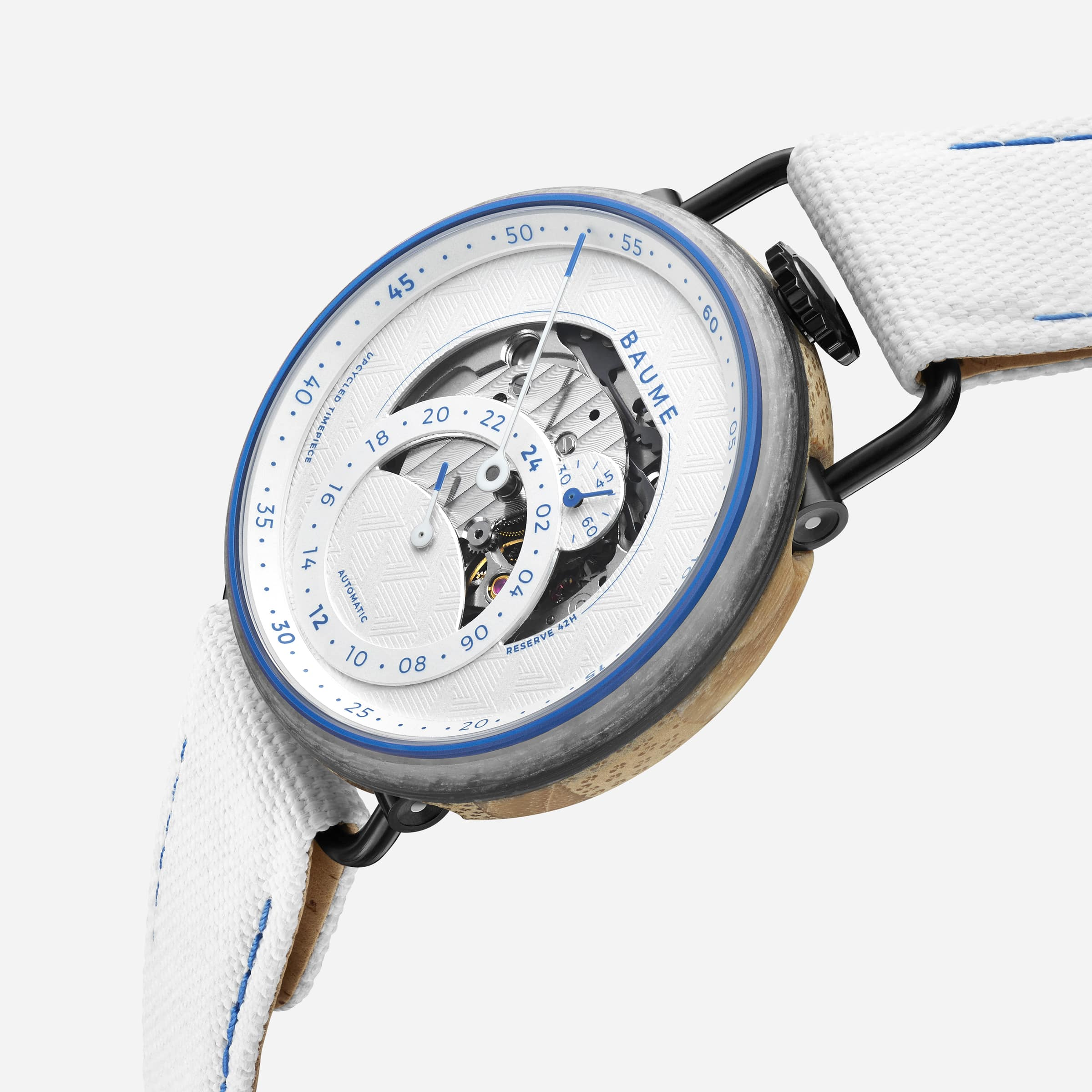 La montre Baume x Zag limited edition, modèle blanc.
