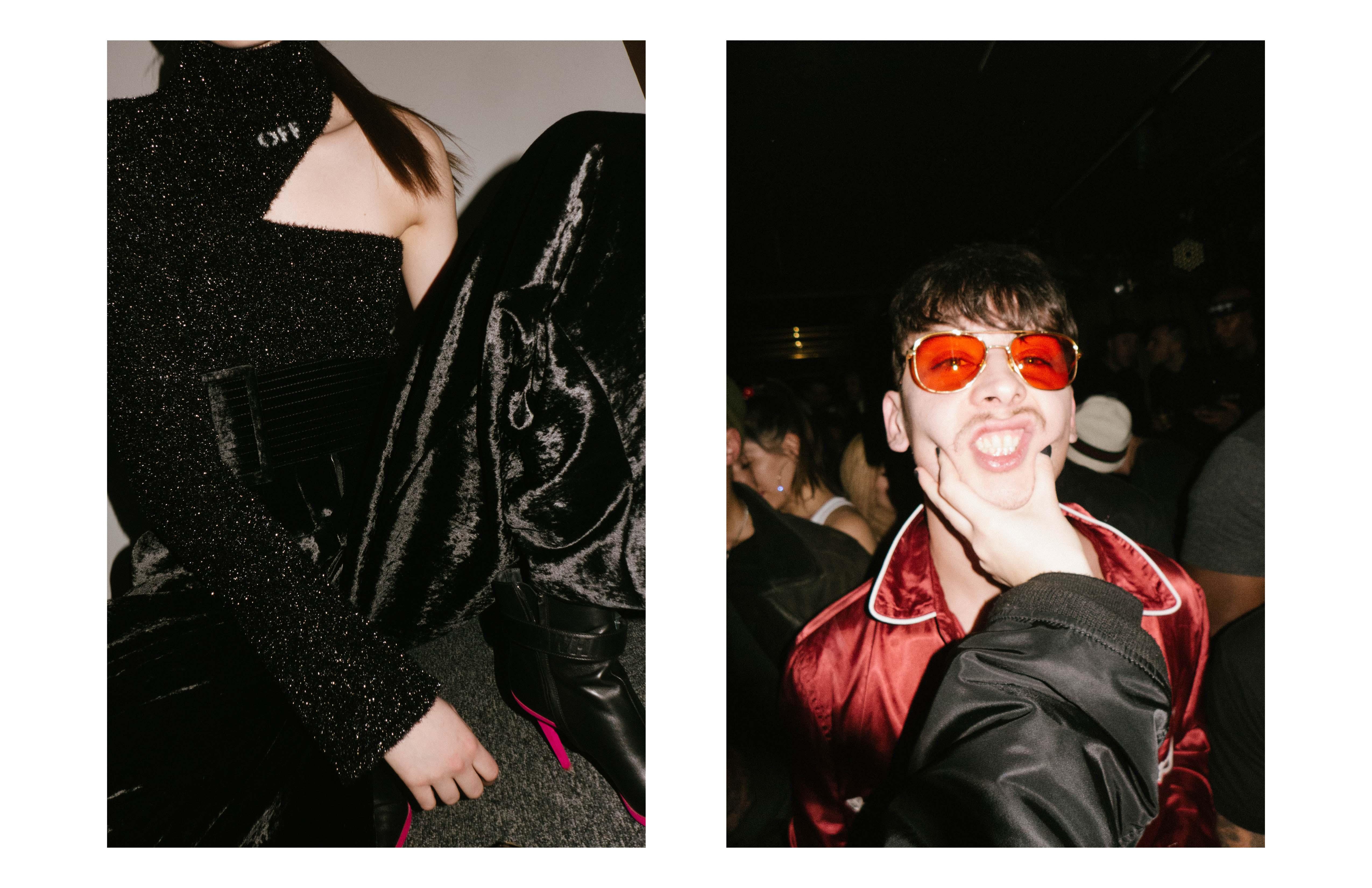 De gauche à droite : les backstages du défilé Off-White, Mago Dovjenko