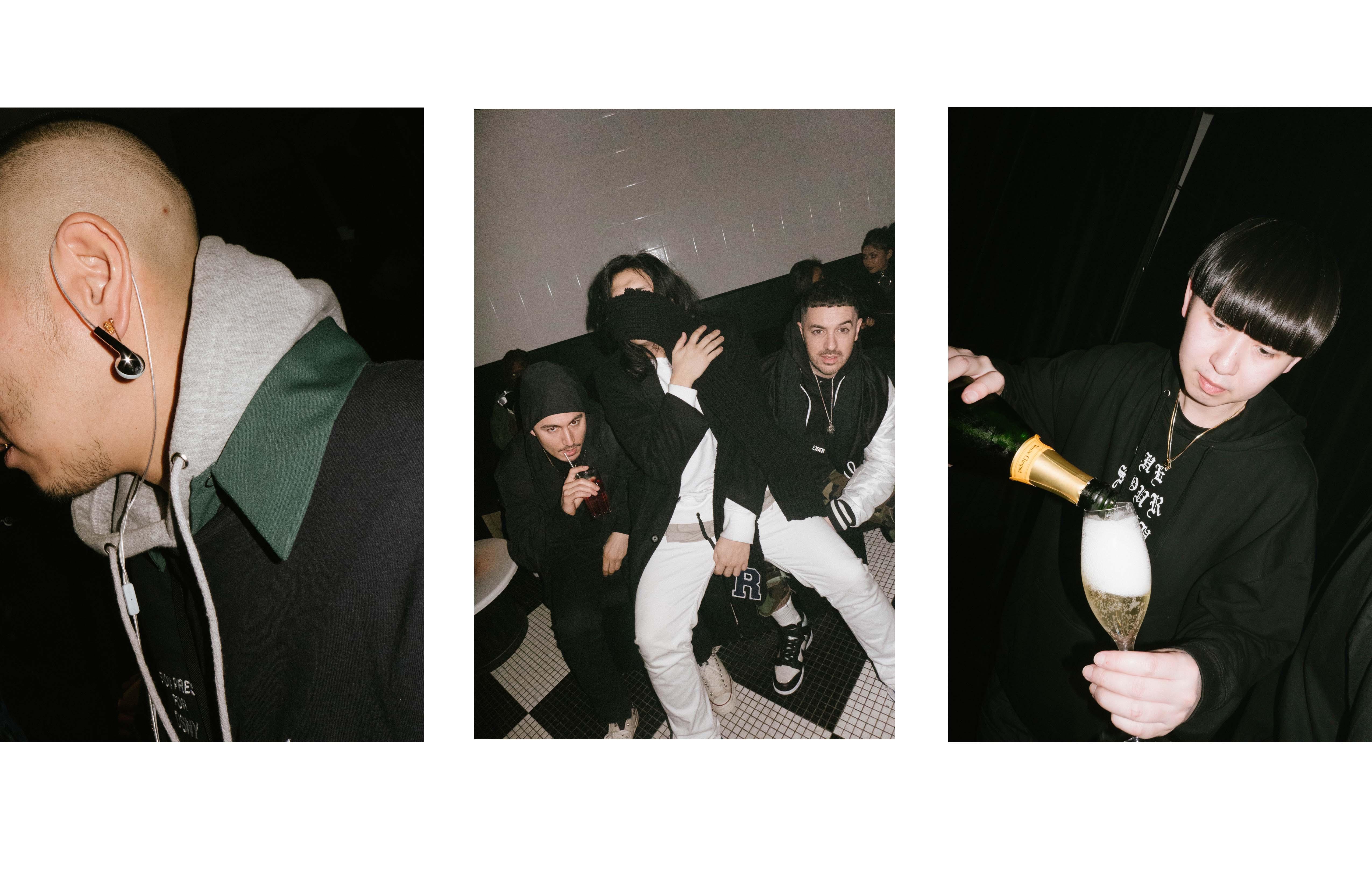 De gauche à droite : Kubo Miles et Guillermo de 424, Simon d'Ejder, Kiri de Phire WIre à la soirée Phire Wire