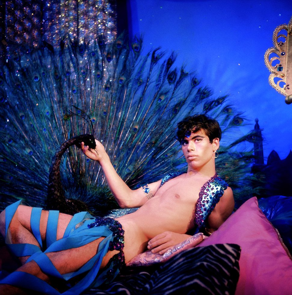 James Bidgood, Harem Boy in front of Peacock, mid-to-late 1960s, digital C-Print. Courtesy of ClampArt, New York