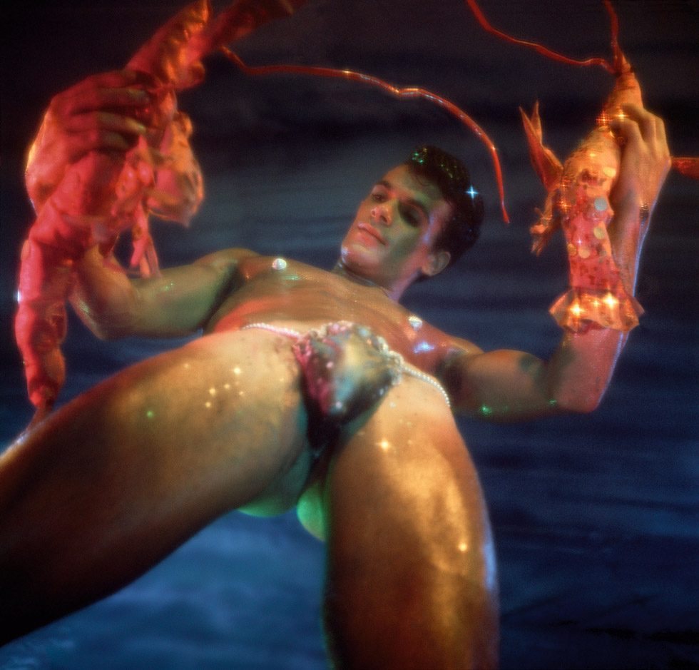 James Bidgood, Lobster, Water Colors, early 1960s, digital C-Print. Courtesy of ClampArt, New York