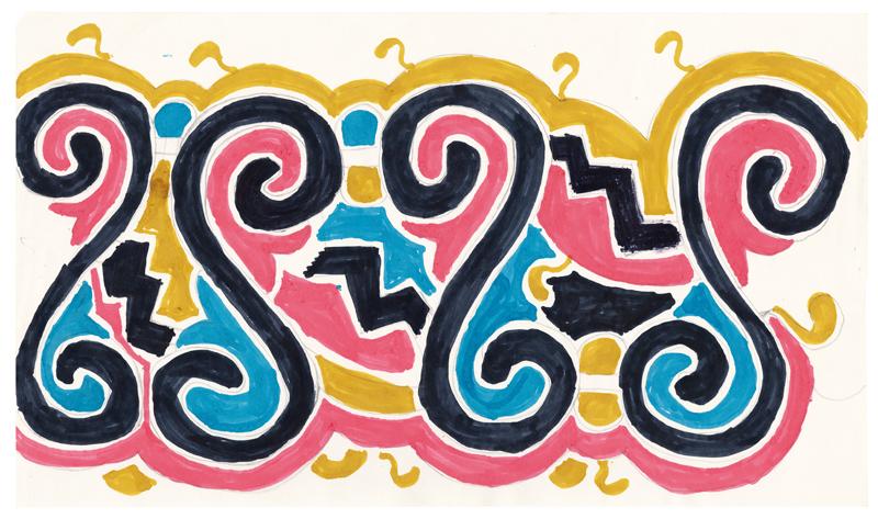 Maria de Fátima Matchua, Sans titre, 1998 Feutre sur papier 22,5 × 39 cm Collection Fondation Cartier pour l'art contemporain, Paris © Maria de Fátima Matchua, Associação das Comunidades Indígenas da Reserva Kadiwéu – ACIRK, Mato Grosso do Sul