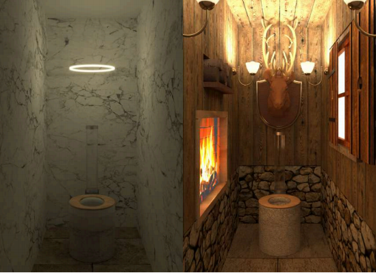 Deux des huit univers Trone créés à l'intérieur de La Felicità. Une startup de la Station F qui réinvente les toilettes.