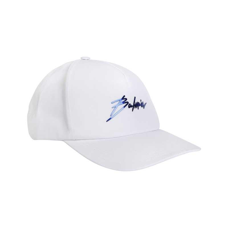 Collection homme, casquette blanche logo Balmain bleu