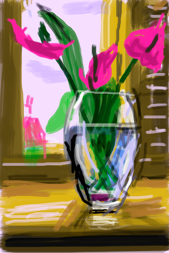 """No. 324"", 27th May 2009, iPhone drawing. ""My Window"" de David Hockney (ed. Taschen)"
