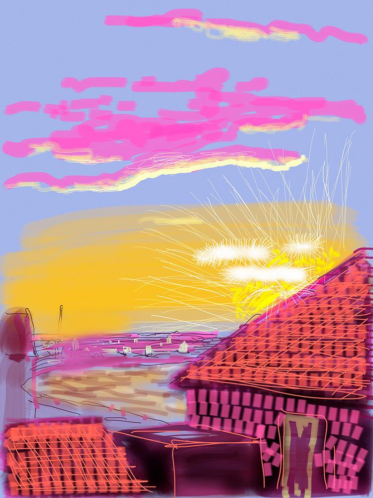 """No. 174"", 21st July 2010, iPhone drawing. ""My Window"" de David Hockney (ed. Taschen)"