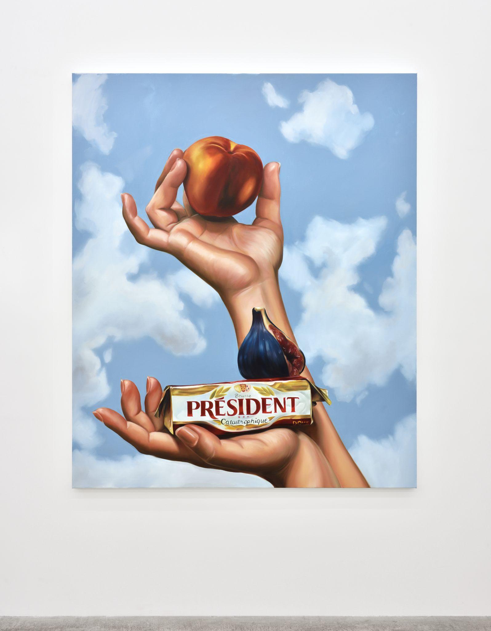 Still life with peach, president, 2017. Oil on canvas, 182,9 x 152,4 cm