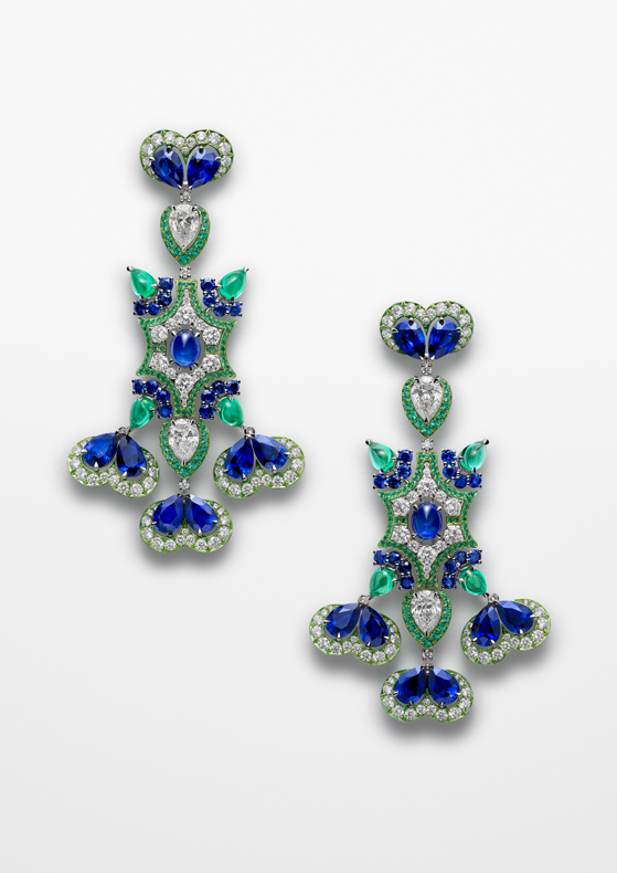 Earrings in 18ct white gold and titanium set with pear-shaped (20.6cts) and brilliant-cut (3.1cts) sapphires, brilliant-cut (5.6cts) and pear-shaped diamonds (3.6cts), emerald cabochons (4.6cts) and brilliant-cut emeralds.