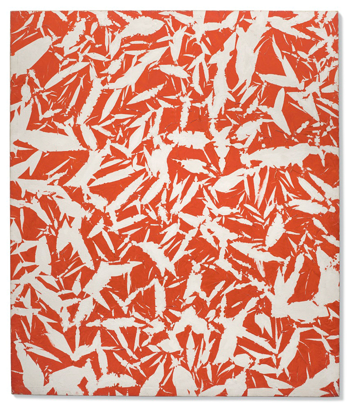 """Simon Hantaï, """"Étude"""", huile sur toile (1969)"""