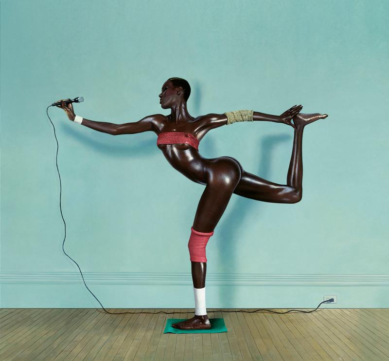 Grace Jones, Grace revue et corrigée Photo peinte, New York, pour la pochette de l'album Arabesque Brooklyn, image : Jean-Paul Goude, 1978.