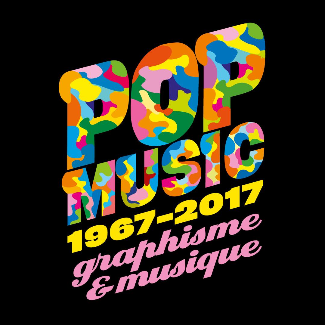 """Affiche de l'exposition """"Pop Music 1967-2017 — Graphisme et musique"""" à la Cité internationale des arts © Cité internationale des arts de Paris."""