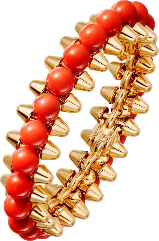 Bracelet Clash de Cartier, or jaune et corail.
