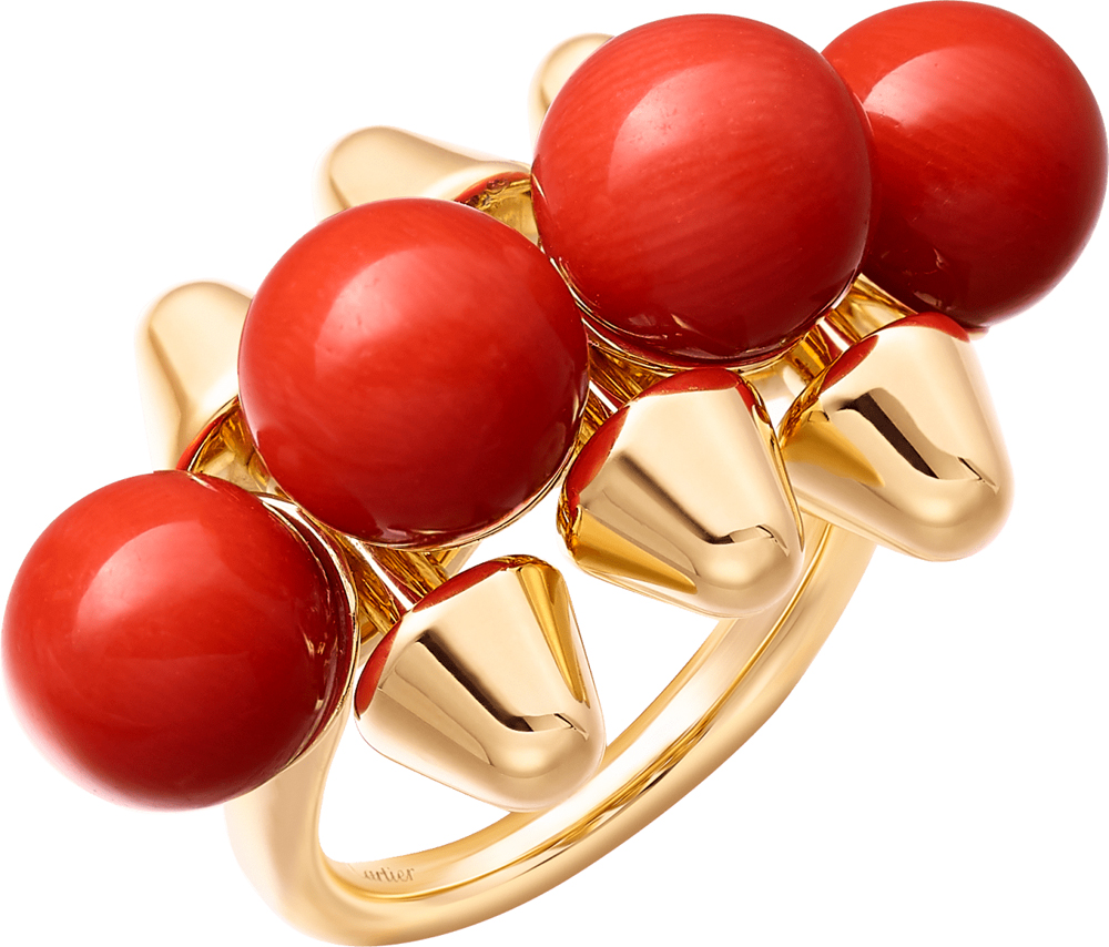 Bague Clash de Cartier, or jaune et corail.