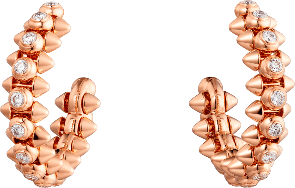Boucles d'oreilles Clash de Cartier, or rose et diamants.