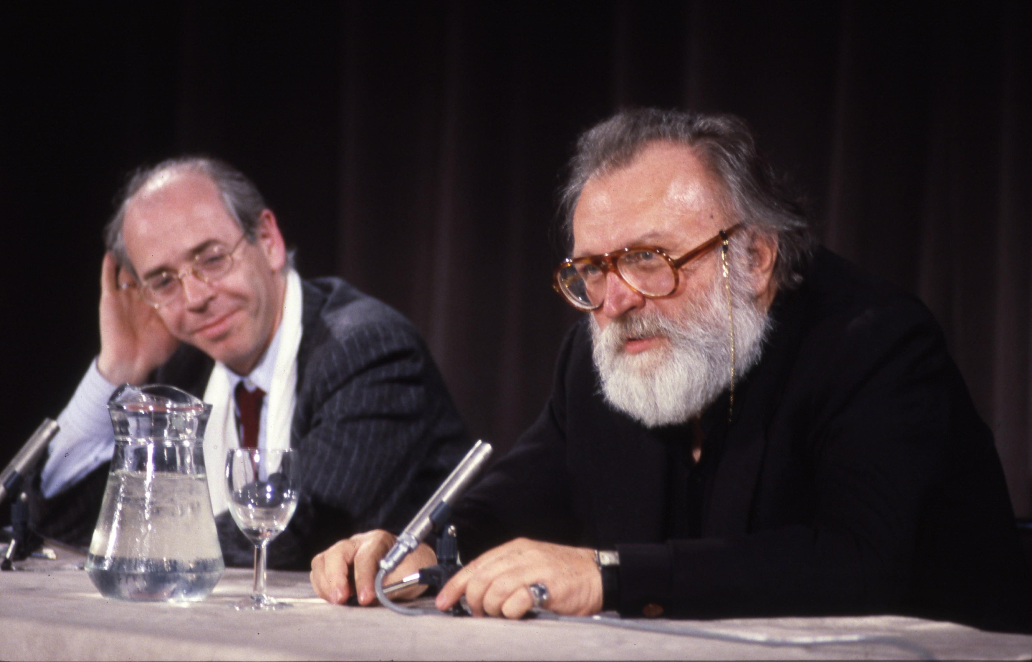 Master class de Sergio Leone à La Cinémathèque française le 6 mai 1986. Animée par Noël Simsolo. © La Cinémathèque française