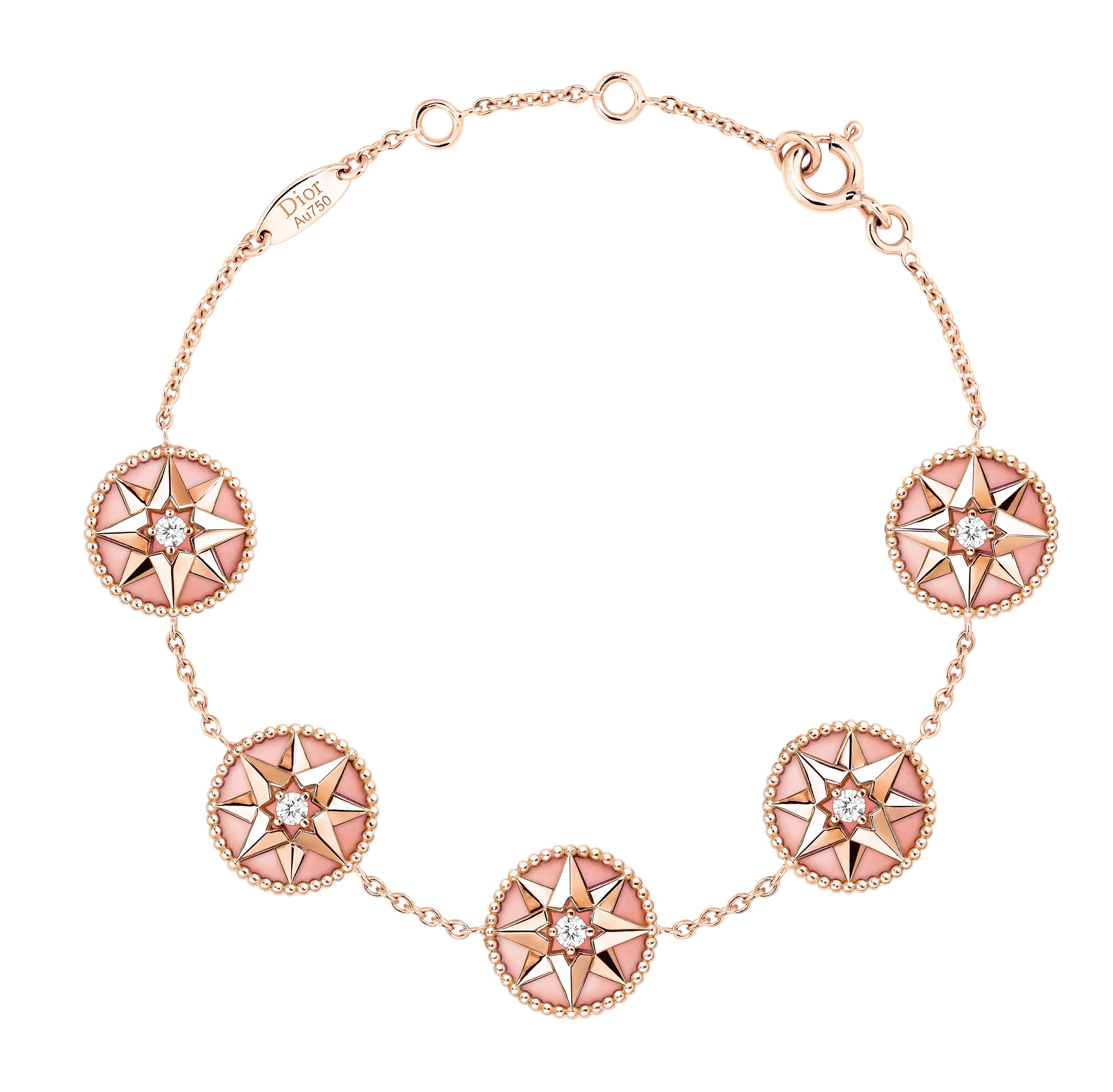 Bracelet rose des vents or rose, diamants et opale rose.