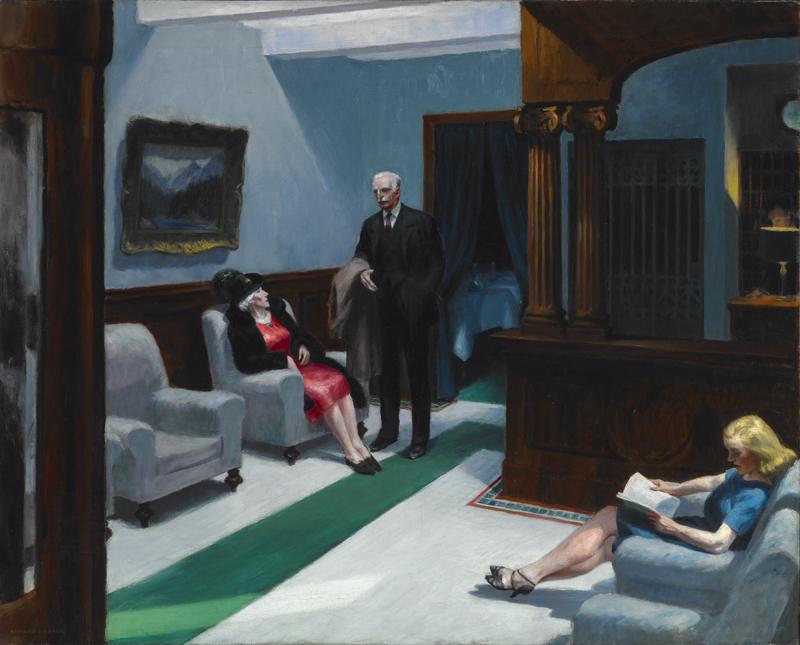 """Edward Hopper, """"Hotel Lobby"""" (1943) © 2019 Heirs of Josephine N. Hopper / Artists Rights Society (ARS), NY"""
