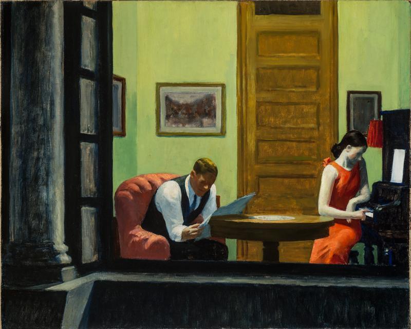"Edward Hopper, ""Room in New York"" (1932) © 2019 Heirs of Josephine N. Hopper / Artists Rights Society (ARS), NY"