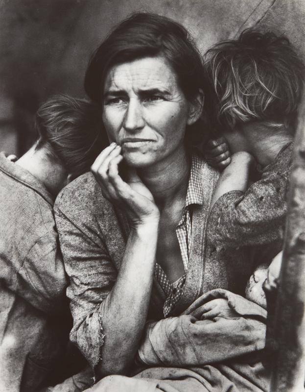 "Dorothea Lange ""Migrant Mother, Nipomo, California"" 1936 Gelatin silver print, printed circa 1955. 13 1/4 x 10 3/8 in. (33.7 x 26.4 cm)"