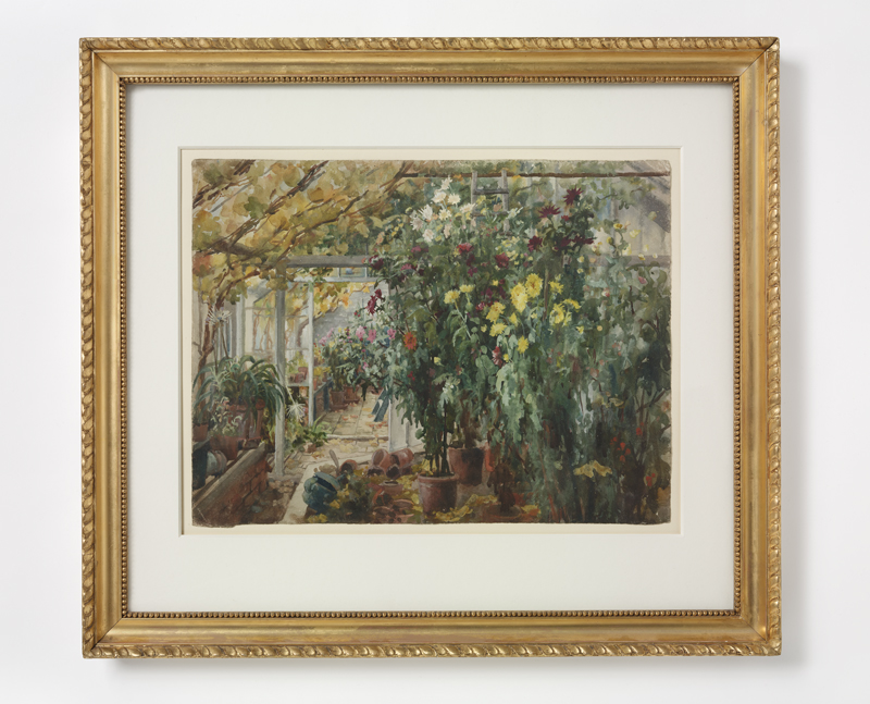 Edith Dawson, 'Conservatory at Renishaw', watercolour, 1885 (c) Victoria and Albert Museum, London